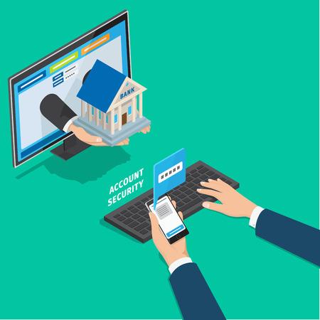 Online bankieren account veiligheidsconcept. Bemant handen typend wachtwoord op PC van bericht op telefoon isometrische vector. Het overgaan van verificatie in twee stappen tijdens login in de pagina 3d illustratie van de bankcliënt Stock Illustratie