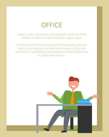Office worker sitting on chair in front of table with few books on it. Vector of male on his workplace isolated on white in frame for text Ilustração