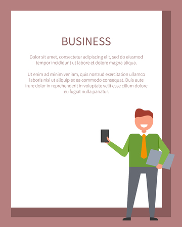 Business poster, man dressed in green shirt holding phone icon and text sample for placing own text in frame vector illustration isolated on white