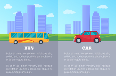 Car against bus comparing of public and private city transport poster. Vector illustration of vehicles among urban buildings and skyscrapers Vectores
