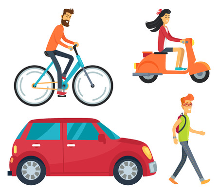 Icons of man on bike, girl with scooter, vehicle and pedestrian with backpack. Vector illustration with transport and people isolated on white background Illustration