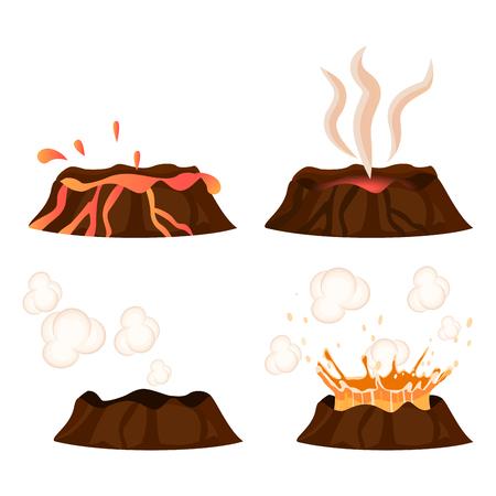 火山噴火段階イラスト コレクション