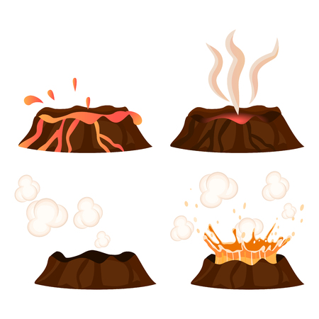 Volcanic Eruption Stages Illustrations Collection Vettoriali