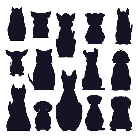 Cartoon dog breeds dark silhouettes isolated on white background. Small and big dogs vector illustration. Adorable, funny and loyal humans friends. Hunting, protection and decorative species