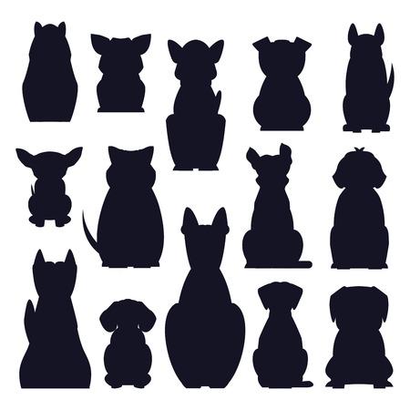 Cartoon hond rassen donkere silhouetten geïsoleerd op een witte achtergrond. Kleine en grote honden vector illustratie. Schattige, grappige en loyale mensenvrienden. Jagen, bescherming en decoratieve soorten