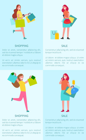 Shopping and Sale Four Posters Vector Illustration Illustration