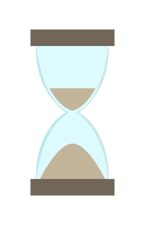 Hourglass with more sand in bottom part than in top illustration.