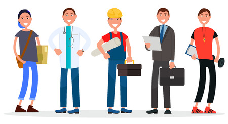 People various professions on white. Vector illustration of student, doctor in uniform, builder in helmet, manager with report, physical teacher.