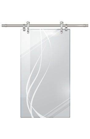 Moving Transparent Door on Checkered Background Illustration
