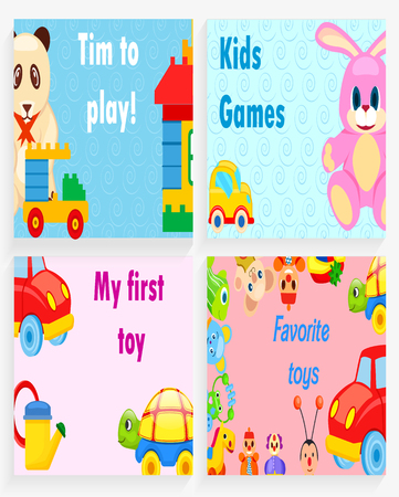 Time to Play, kids games, my first toy and favorite toys vector illustrations with soft animals, small cars and easy constructors.