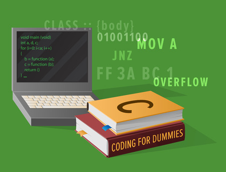 Portable computer and thick textbooks for Informatics studies isolated vector illustration. Open laptop with program code on screen.
