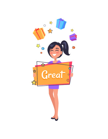 Smiling girl dreaming about boxes with presents holding billboard in hand with text great. Vector illustration with woman and sale banner on white 向量圖像