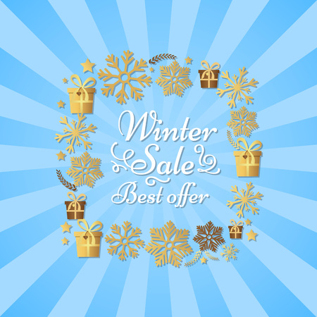 Winter sale best offer poster in square frame made of silver and gold snowflakes.