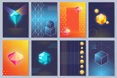 3D wallpapers with colorful three-dimensional cubes or shiny diamonds.