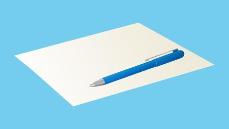 Pen op blanco vel papier illustratie.