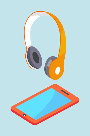 Earphones and smartphone modern stereo equipment. Wireless headphones and tablet vector three dimensional illustrations isolated on blue background. Stock Illustratie