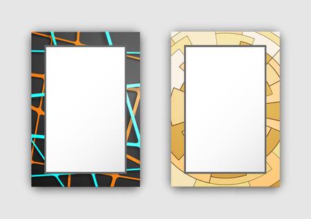 다시 빛과 노란색 색 교차 선과 원 아이콘 벡터 일러스트 레이 션 화이트 절연 어두운 색 빛깔의 두 프레임 세트 일러스트