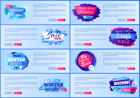Winter season discounts advertisement web posters with sales labels design consisting info about prices off 2017 collection vector illustrations