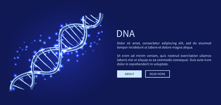 DNA code structure with chromosomes radiate light white glow web banner. Vector illustration of gene code icon isolated on dark blue background
