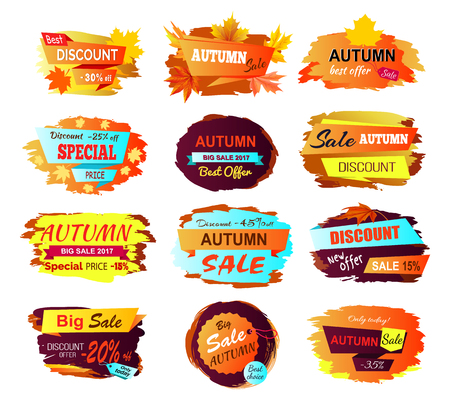 Best discount autumn sale, collection of stickers made up of titles, percents and decorative elements, such as foliage vector illustration