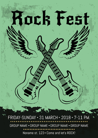 Rock fest party advertising with two crossed electrical guitars with wings. Vector illustration contains space for details of event