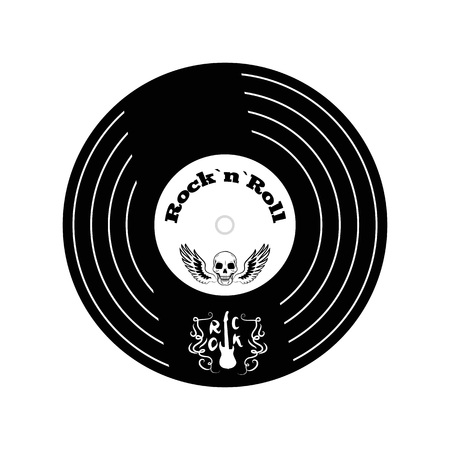 Rock n roll vinyl big icon with small picture of guitar and decorative elements in it, skull and wings in circle vector illustration isolated on white