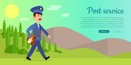 Post service cartoon web banner. Postman in uniform walking with bag full of letters on sunny mountain background flat vector illustration. Horizontal concept for mail or deliver company landing page