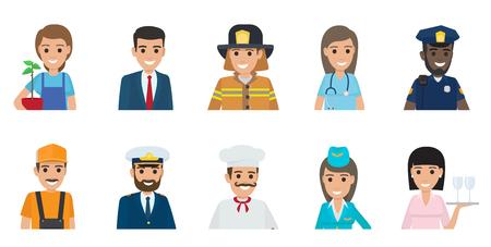 Gärtner mit Anlage, Geschäftsmann, tapferem Feuerwehrmann, Doktor, afrikanischer Polizist, Klempner, italienischem Chef, Stewardess und Kellnerin vector Illustrationen.