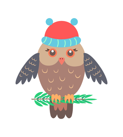 Closeup of owl with red knitted hat, animal that symbolize wisdom sitting on branch on vector illustration isolated on white background Çizim