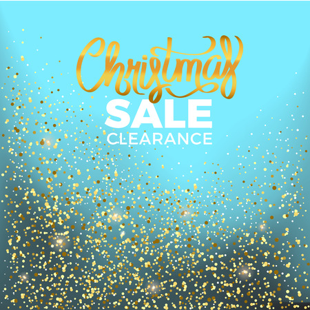 Christmas sale clearance colorful advert surrounded by shiny golden confetti. Vector illustration of holiday offer on turquoise background