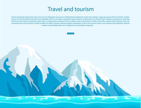 Reis en toerismeteken met tekst op blauwe hemel als achtergrond. Ijsbergen met sneeuwbovenkanten boven oceaan vectorillustratie.