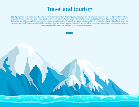 Travel and tourism sign with text on blue sky as background. Ice mountains with snow tops above ocean vector illustration. Иллюстрация