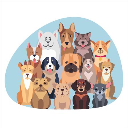 Concetto di cani di razza. Illustrazione vettoriale di diversi tipi di cane. Archivio Fotografico - 91033181
