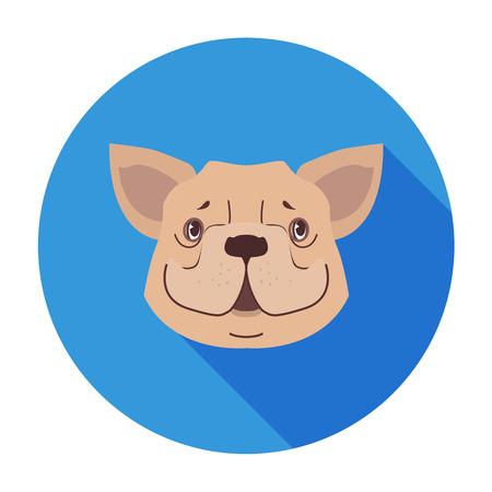 흰색 배경에 색 동그라미 플랫 벡터에서 재미 귀여운 갈색 강아지 머리. 사랑스러운 순종 된 만화 개, 동물 친구 개념, 쇼핑 또는 수의학 클리닉 광고, 일러스트