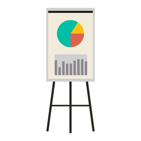 Office Presentation Board with Charts and Diagram