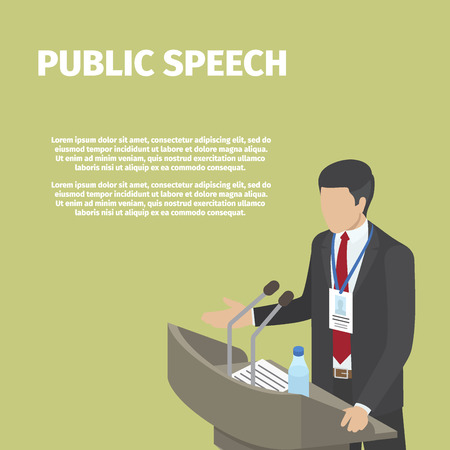 公共のスピーチで表彰台の後ろにビジネスマン立っています。