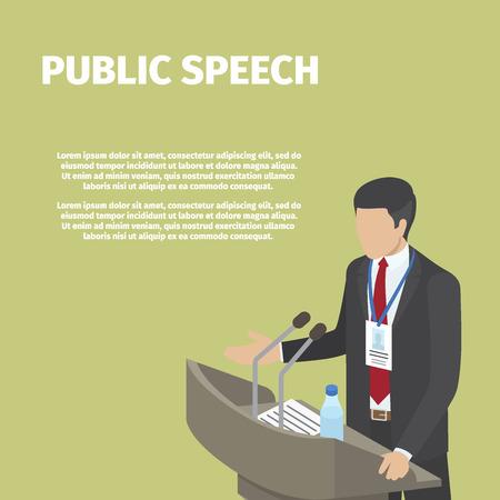 Businessman Stands behind Podium on Public Speech