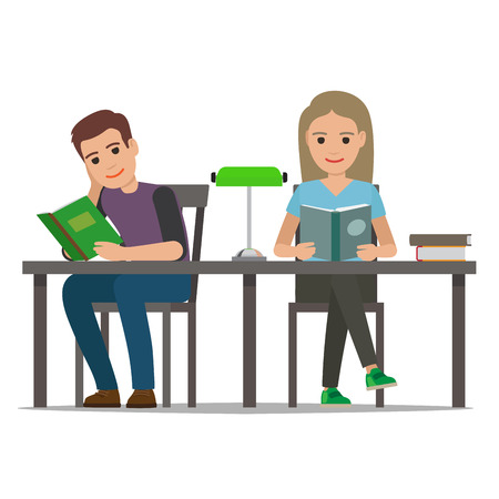 People reading textbooks in library. Man and woman characters seating at the table with open book in hand isolated flat vector. Enthusiastic readers illustration for educational and hobby concept