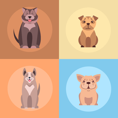 Leuke Purebred Dogs Cartoon Flat Vector Icons Set Stock Illustratie