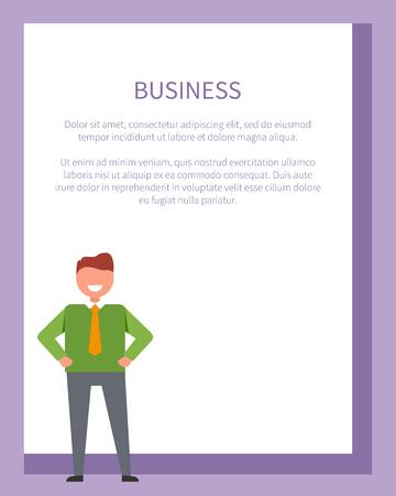 陽気な男を描いたビジネス関連のポスター。グリーンのセーター、灰色の服のズボン、オレンジのネクタイを身に着けている成功した実業家のベク