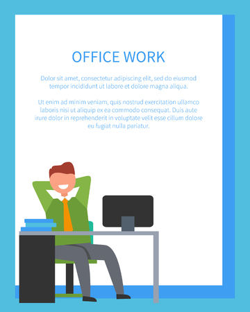 Office work with text sample written in blue color in frame and icon of man sitting at desk happy because of done job vector illustration Ilustração