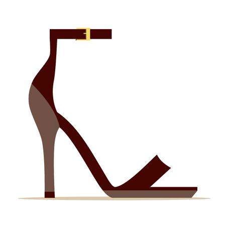 Ankle Strap Scarlet Shoe Isolated Illustration Çizim