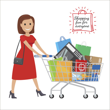 Shopping Fun For Everyone. Cartoon Woman with Cart