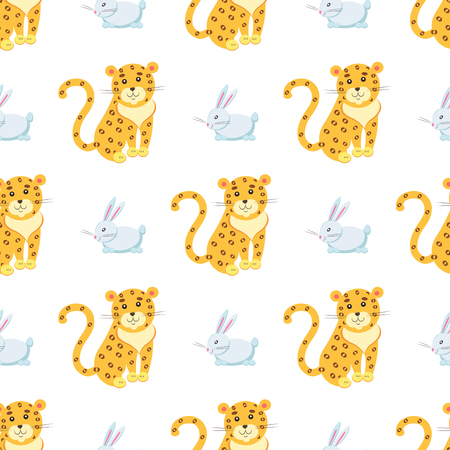 Seamless pattern of jaguar and rabbit vector flat cartoon sticker or icon outlined with dotted line isolated on white. Wild and domestic animals cartoon illustration for prints on fabric, wrapping paper Illustration