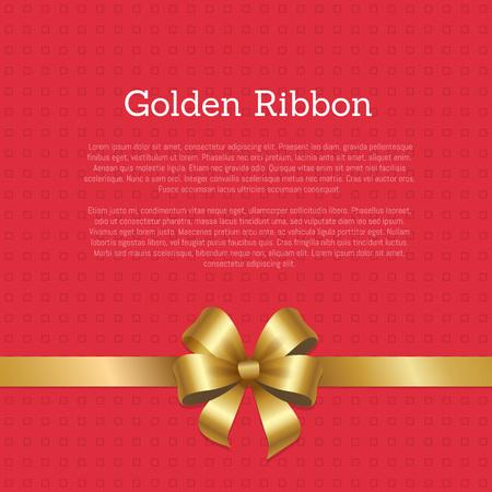 Golden Ribbon Certificate or Greeting Card Design Stock Vector - 91101328