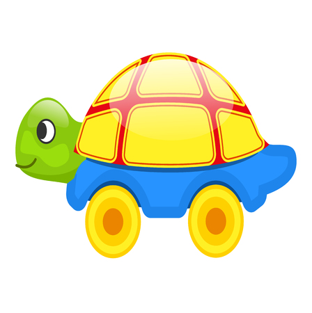 Cute toy Turtle on Wheels Isolated Illustration