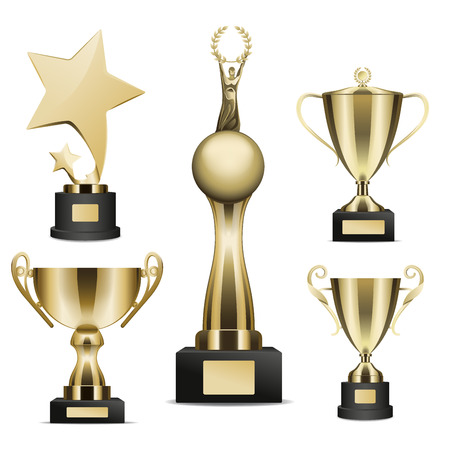 Golden Trophy Cups Realistic Vector Collection Illustration