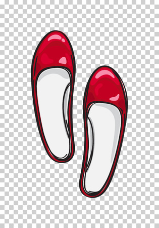 Red Ballerina Flat Shoes Isolated Illustration