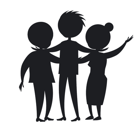 幸せに成長した家族のベクトル