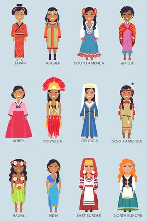 Japan and Alaska Set of Women Vector Illustration Фото со стока - 91101828